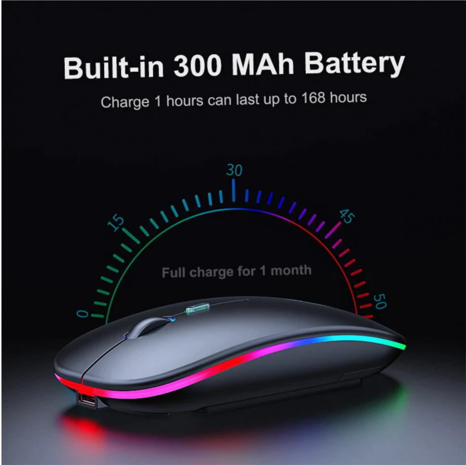 black wireless mouse LED