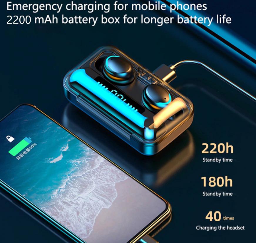 TWS Bluetooth 5.0 Earphones emergency charging