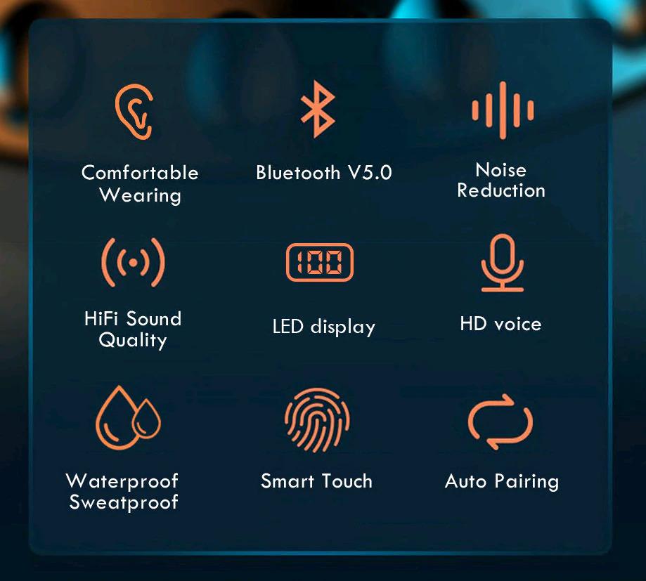 TWS Bluetooth 5.0 Earphones features