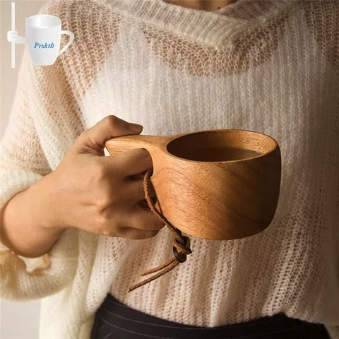 portable wooden coffee mug