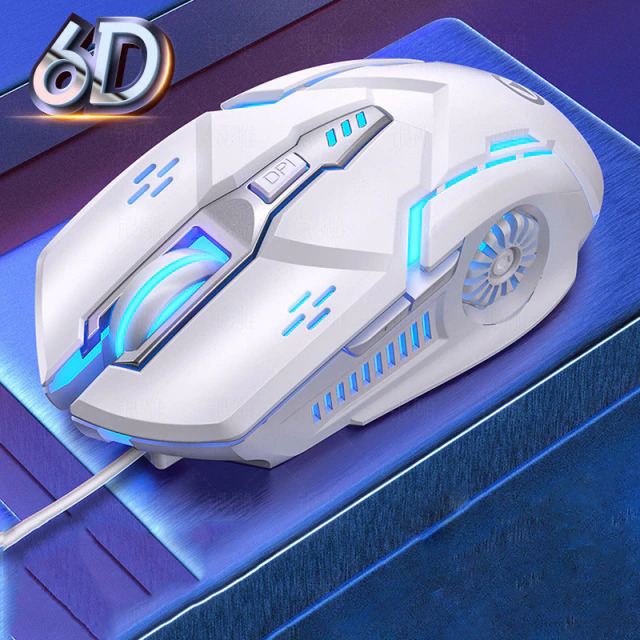 white wired gaming mouse